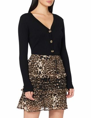 Dorothy Perkins Women's Black Leopard Print Ruffle Mini Skirt 10
