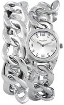Vernier Silver Chain Link Wrap Watch