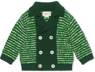 Gucci Kids Mouline Double-Breasted Striped Cardigan