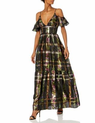 Cynthia Rowley Women's Plaid Metallic Ruffle Maxi Dress 2