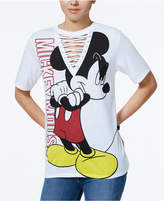 Freeze 24-7 7 Disney Juniors' Mickey Mouse Lace-Up Graphic T-Shirt by 7