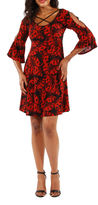 24/7 Comfort Apparel Split Sleeve Fit & Flare Dress