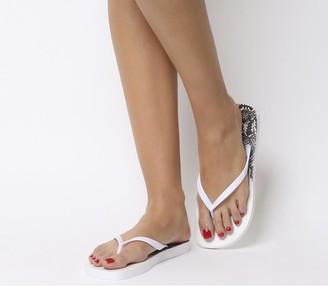 Office Seaside Ombre Toe Post Sandals White Snake