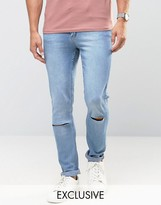 Cheap Monday Jeans Tight Skinny Fit Stonewash Blue Ripped Knee