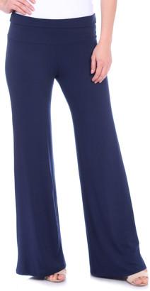 Brooke & Emma Women's Casual Pants NAVY - Navy Fold-Over Palazzo Pants - Women & Plus