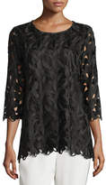 Caroline Rose Half-Sleeve Leaf-Cut Tunic Top
