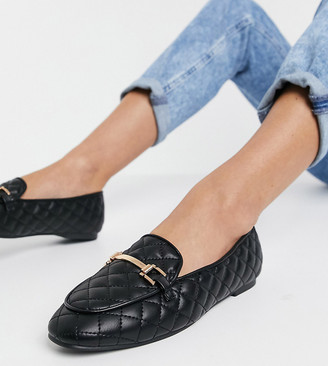 London Rebel wide fit snaffle trim loafers in black