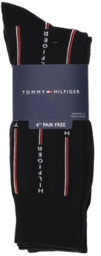Tommy Hilfiger Men's 4-Pack Logo Pinstripe Dress Socks