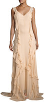 Elizabeth and James Catherine Sleeveless Silk Ruffle Gown, Eggshell