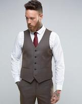 Harry Brown Slim Fit Waistcoat In Khaki Check