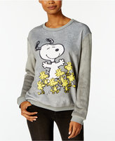 Hybrid Juniors' Peanuts Snoopy Woodstock Graphic Fuzzy Sweatshirt