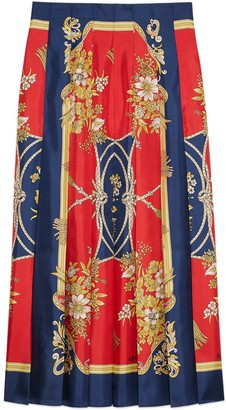 Gucci Silk skirt with flowers and tassels print