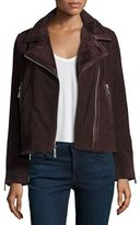 Neiman Marcus Suede Moto Jacket w/ Shearling Collar, Bordeaux