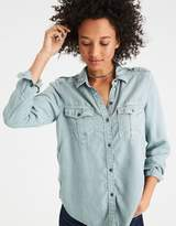 American Eagle Outfitters AE Solid Colored Tencel Boyfriend Shirt