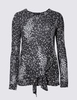 Marks and Spencer Animal Print Tie Front Jersey Top