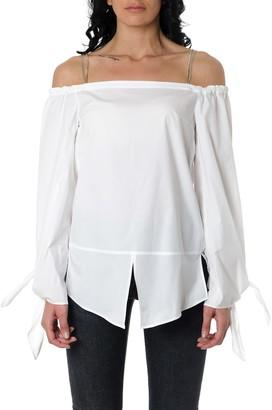 Dondup Off-shoulder White Cotton Blouse