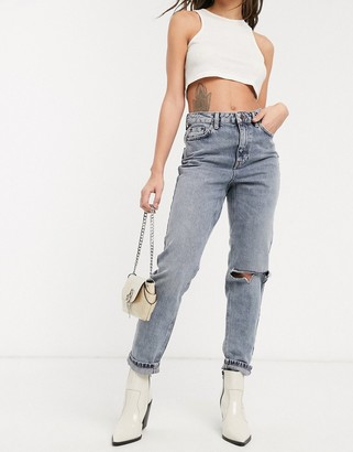 Topshop ripped Mom jeans in smoke