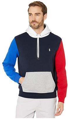Polo Ralph Lauren Color Block Double Knit Tech Hoodie (Aviator Navy Multi) Men's Clothing