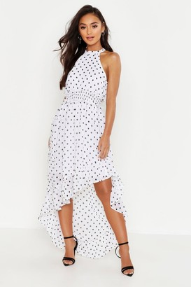 boohoo Petite Polka Dot High Neck Shirred Waist Maxi Dress