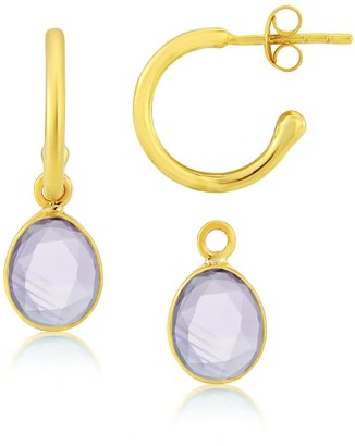 Manhattan Gold Auree Jewellery & Amethyst Interchangeable Gemstone Earrings