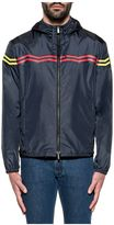 Fendi Blue Zigzag Print Hooded Jacket