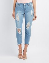 Charlotte Russe Refuge Step Hem Skinny Destroyed Jeans