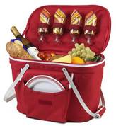 Picnic at Ascot Insulated Picnic Basket Equipped with Service For 4 - Red