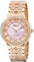 Burgi Women's BUR115RG Swiss Quartz Crystal Accented Mother-of-Pearl Guilloche Rose Gold Bracelet Watch