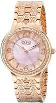 Burgi Women's BUR115RG Swiss Quartz Crystal Accented Mother-of-Pearl Guilloche Rose Gold Bracelet Watch