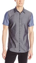 Calvin Klein Men's Pieced Chambray Short Sleeve Woven Shirt