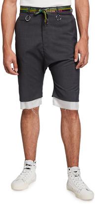 R 13 Men's Drop-Crotch Shorts w/ Shoelace Belt