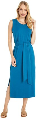 Mod-o-doc Cotton Modal Spandex Jersey Belted Tank Dress with Side Slits (Vino Bacca) Women's Clothing