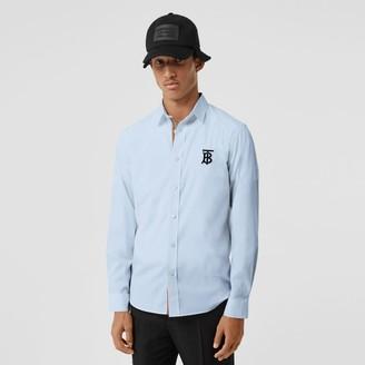 Burberry Embroidered Motifs Stretch Cotton Poplin Shirt