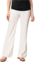 A Pea in the Pod Maternity Under-Belly Wide-Leg Linen-Blend Pants