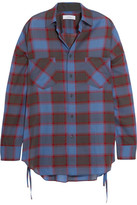 Facetasm Oversized Checked Wool-blend Shirt - Blue