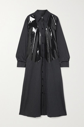 MM6 MAISON MARGIELA Striped Coated Cotton-poplin Maxi Shirt Dress - Navy