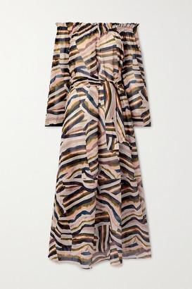 Marios Schwab Los Bajos Off-the-shoulder Printed Cotton-voile Midi Dress - Pink