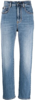 Palm Angels Logo-Print Straight-Leg Jeans