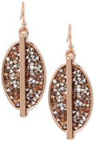 Kenneth Cole New York Rose Gold-Tone Glitter Oval Drop Earrings
