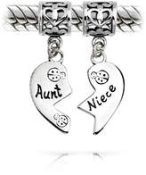 Bling Jewelry Aunt Niece 925 Silver Heart Dangle Charm Pandora Compatible