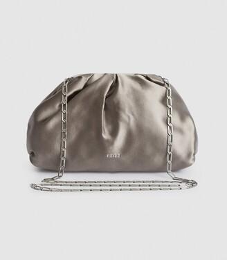 Reiss Ellena - Satin Pouch Clutch in Silver