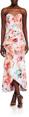 Parker Black Lulu Watercolor Floral Strapless Ruffle Dress