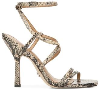 Sam Edelman Leeanne Ankle-Wrap Snakeskin-Embossed Leather Sandals