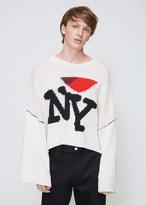 Raf Simons Ecru Oversized Jacquard Sweater