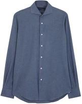 Lardini Navy Cotton Flannel Shirt