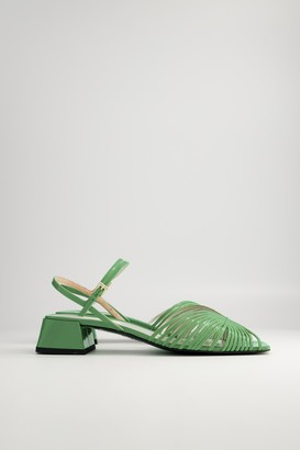 Suzanne Rae Women's 70S Low Sandal in Neon Green, Size 37 | Leather