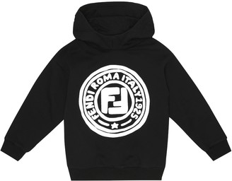 Fendi Kids Medallion logo cotton hoodie