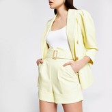 River Island Yellow high corset belted waist shorts
