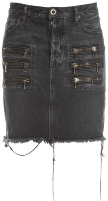 Unravel Project Zip Distressed Denim Skirt