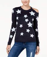 Oh! Mg Juniors' Star-Print Metallic Sweater